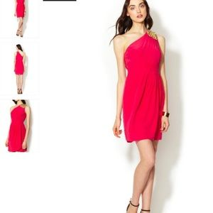 Shoshanna one shoulder red dress with gold accents